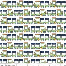 Tissu Pieces Train vert x 10cm