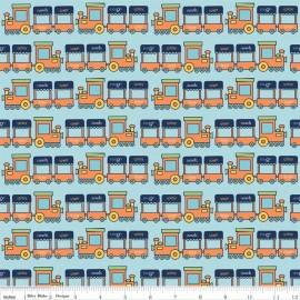Tissu Pieces Train orange x 10cm