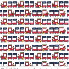 Tissu Pieces Train rouge x 10cm