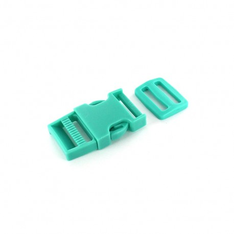 Side release buckle and tri bar slide - turquoise