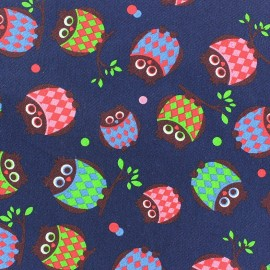 Canvas Fabric Chic Owl - navy blue x 10 cm