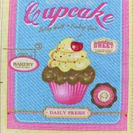 Tissu toile Cupcakes x 63 cm