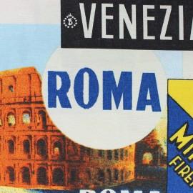 ♥ Coupon 62 cm X 140 cm ♥  Tissu toile Souvenirs d'Italie
