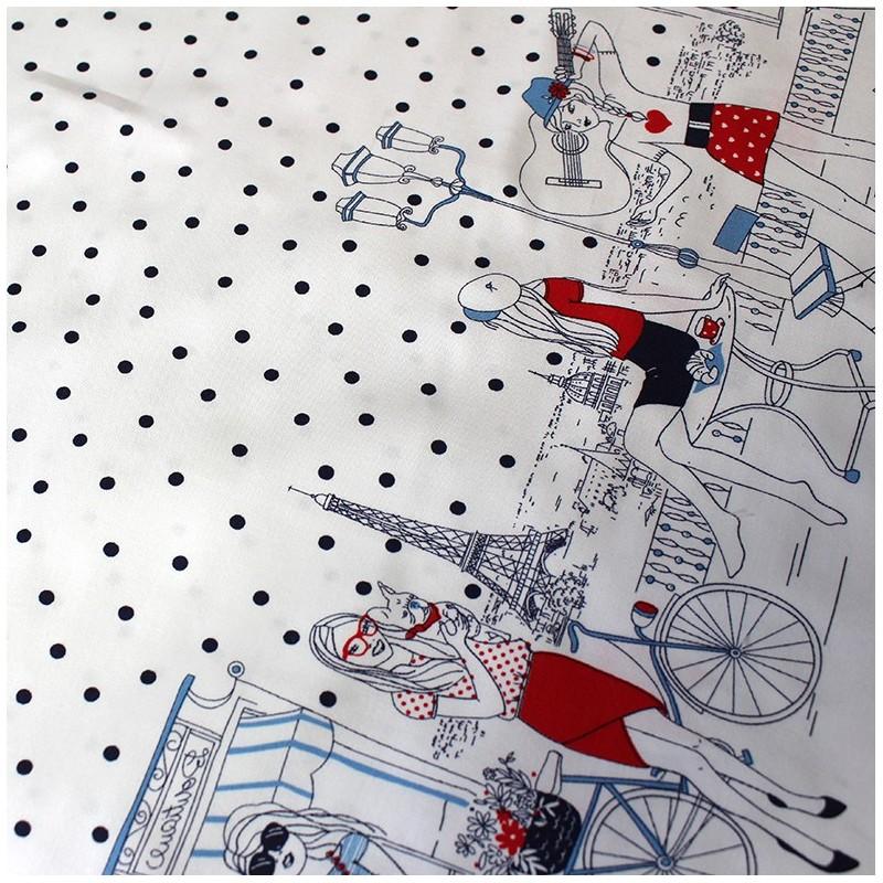 tissu coton parisienne bleu x 30cm ma petite mercerie. Black Bedroom Furniture Sets. Home Design Ideas