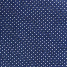 Cotton fabric Spring mini pois grey on navy blue x10cm