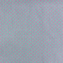 Cotton fabric Spring mini pois pink on sea green x 10cm
