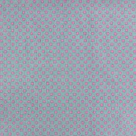 Tissu Spring mini pois rose fond vert d'eau x 10cm