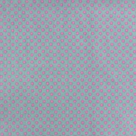 Cotton fabric Spring mini pois pink on sea green x 10cm