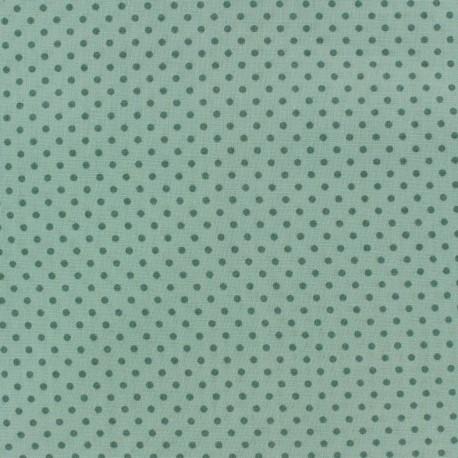 Tissu Spring mini pois sauge fond vert d'eau x 10cm