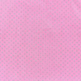 Cotton fabric Spring mini pois grey on pink x 10cm