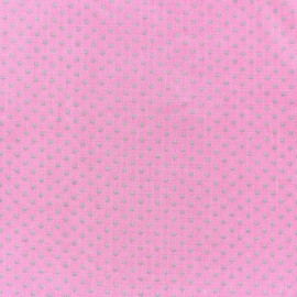 Tissu Spring mini pois gris fond rose x 10cm