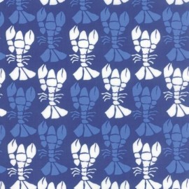 Tissu Beach House White Écrevisse Bleu  x 10cm