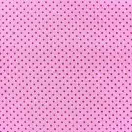 Cotton fabric Spring mini pois raspberry on pink x 10cm