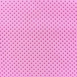 Tissu Spring mini pois framboise fond rose x 10cm