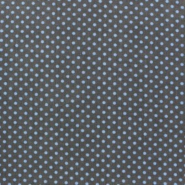 Tissu Spring mini pois bleu fond anthracite x 10cm