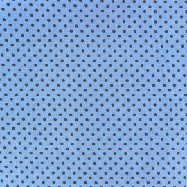 Cotton fabric Spring mini pois anthracite on blue x 10cm