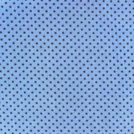 Tissu petits pois multi anthracite fond bleu x 10cm