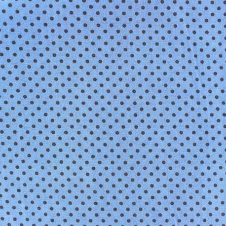 Cotton fabric Spring mini pois anthracite on blue x 10cm