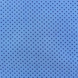 Tissu petits pois multi marine fond bleu x 10cm