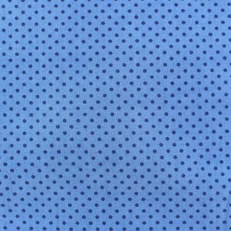 Cotton fabric Spring mini pois navy blue on bleu x 10cm