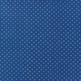 Tissu petits pois multi bleu fond marine x 10cm