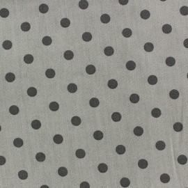 Tissu Spring pois anthracite fond gris x 10cm