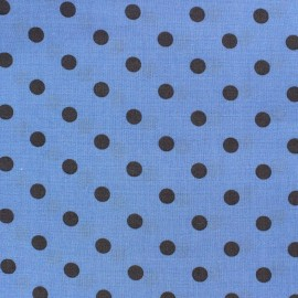 Cotton fabric Spring pois anthracite on blue x 10cm