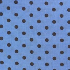 Tissu Spring pois anthracite fond bleu x 10cm