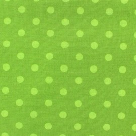 Cotton fabric Spring  pois lime on moss x 10cm