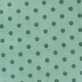 Tissu Spring pois sauge fond vert d'eau x 10cm