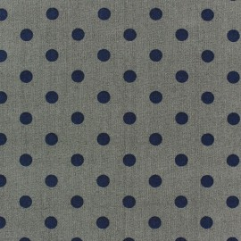 Cotton fabric Spring pois navy blue on anthracite x 10cm