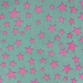♥ Coupon 70 cm X 140 cm ♥ Tissu Spring Voie lactée rose fond vert d'eau