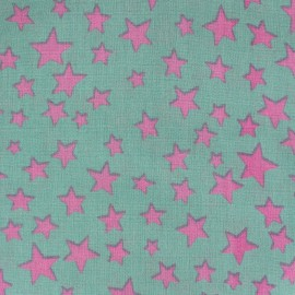Cotton fabric Spring Voie lactée pink on sea green x10cm