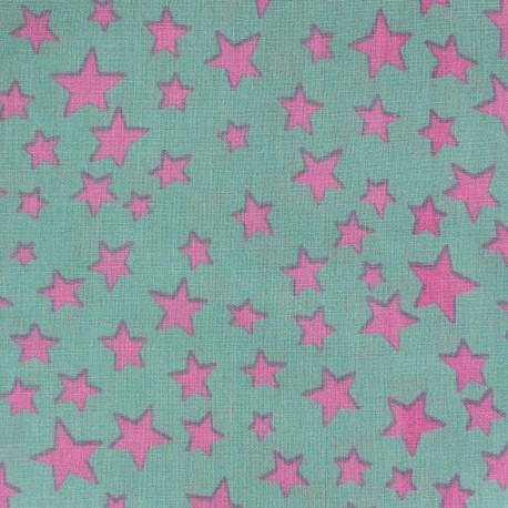 Cotton fabric Spring Voie lactée pink on sea green x10cm