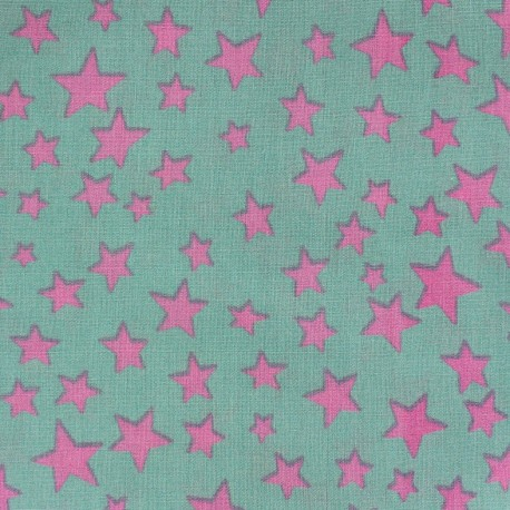 Tissu Spring Voie lactée rose fond vert d'eau x 10cm