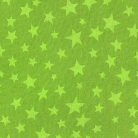 Cotton fabric Spring Voie lactée lime on moss x10cm