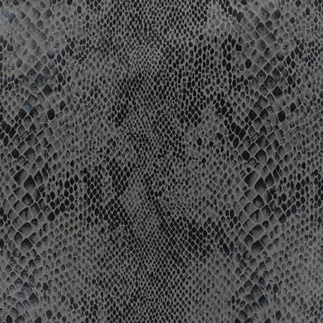 Tissus pas cher tissu su dine python fond anthracite - Tissu suedine pas cher ...