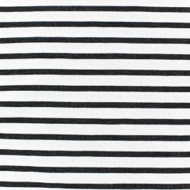 Jersey fabric with grey stripes - white x 10cm