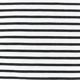 Tissu jersey rayures grises fond blanc x 10cm