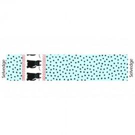 Tissu Cats & Dots fond aqua x 10cm