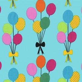 Tissu Funfair Balloons fond turquoise x 15cm