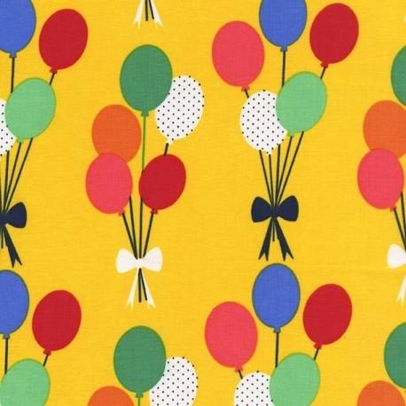 Tissu Funfair Balloons fond jaune x 15cm