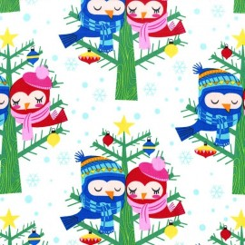 Tissu Christmas Lovebirds fond blanc x 20cm