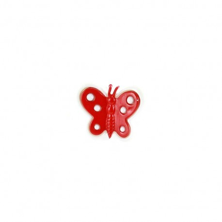 Bouton polyester motyl rouge