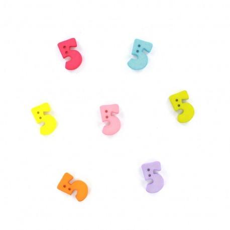 Bouton chiffre 5 Color