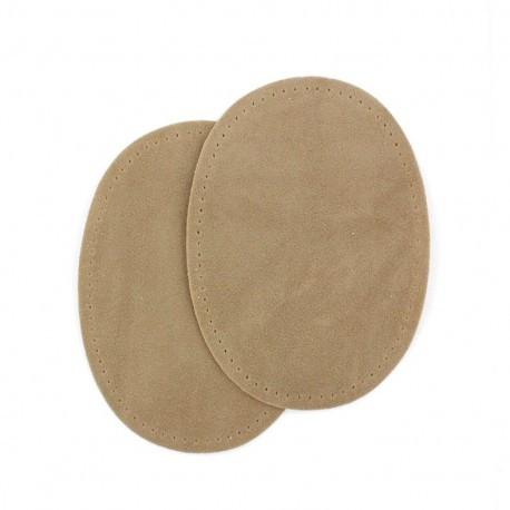 Buckskin aspect fusible elbow and knee patch - beige