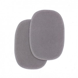 Sew-on imitation buckskin elbow patch Chinchilla - grey