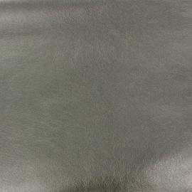 ♥ Coupon 150 cm X 140 cm ♥ Flexible Imitation leather metallized - steel
