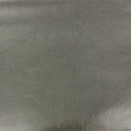 Flexible Imitation leather metallized - steel x 10cm