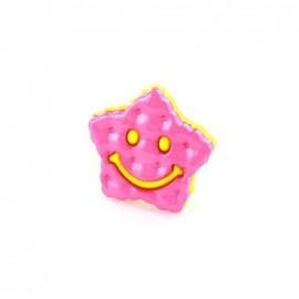 Bouton Polyester étoile smile bicolore jaune/ fuchsia
